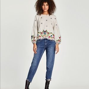 NWT Zara embroidered floral bell sleeve top